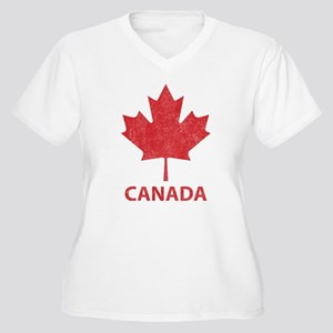 Vintage Canada Women's Plus Size V-Neck T-Shirt
