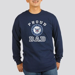 Proud US Navy Dad Long Sleeve Dark T-Shirt