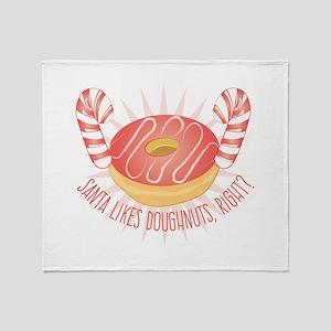 Santa Likes Doughnuts Throw Blanket