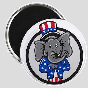 Republican Elephant Mascot Arms Crossed Circle Car