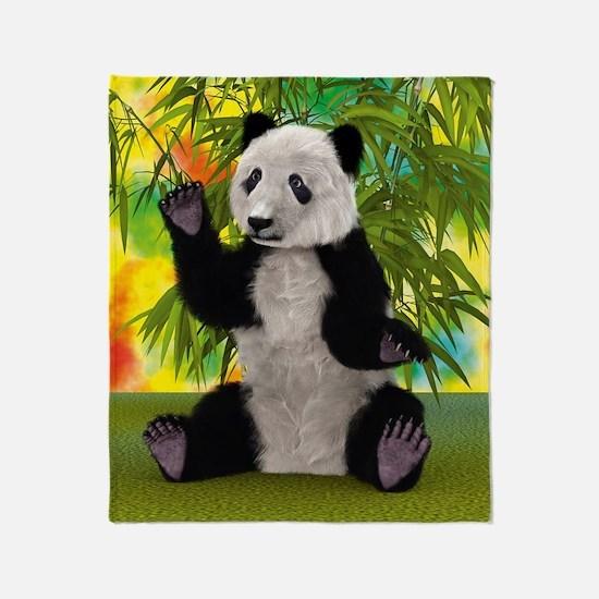 3D Rendering Panda Bear Throw Blanket