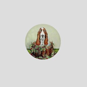 Christmas Basset Holiday Dog Mini Button
