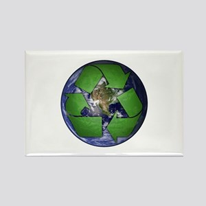 Green Recycle on Earth Rectangle Magnet