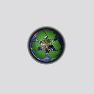 Green Recycle on Earth Mini Button