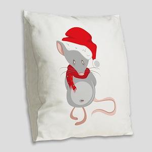 Christmas Mouse Burlap Throw Pillow