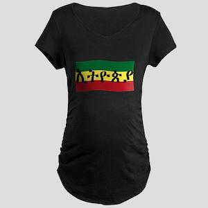 ETHIOPIA -- Amharic with Flag Maternity Dark T-Shi