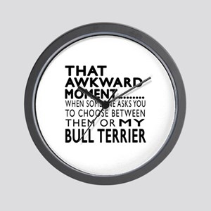Awkward Bull Terrier Dog Designs Wall Clock