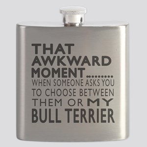 Awkward Bull Terrier Dog Designs Flask
