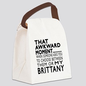 Awkward Brittany Dog Designs Canvas Lunch Bag