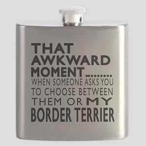 Awkward Border Terrier Dog Designs Flask