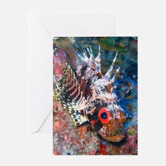 Green Lionfish Blank Greeting Card