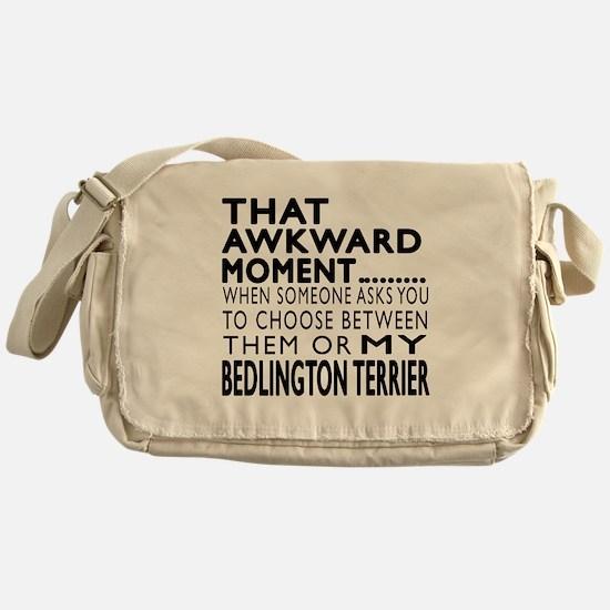 Awkward Bedlington Terrier Dog Desig Messenger Bag