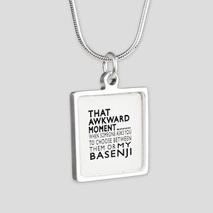 Awkward Basenji Dog Design Silver Square Necklace