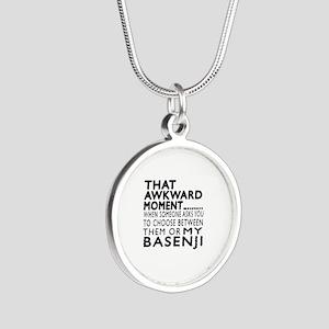 Awkward Basenji Dog Designs Silver Round Necklace