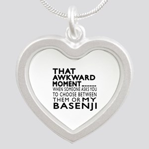 Awkward Basenji Dog Designs Silver Heart Necklace