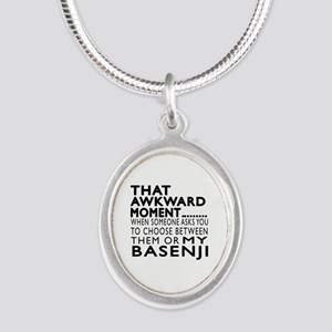 Awkward Basenji Dog Designs Silver Oval Necklace
