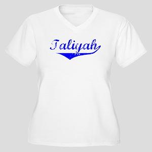 Taliyah Vintage (Blue) Women's Plus Size V-Neck T-