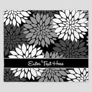 Black Floral Personalized King Duvet