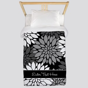 Black Floral Personalized Twin Duvet