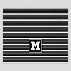 Black Grey Striped Personalized King Duvet