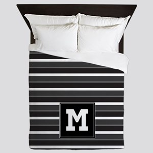 Black Grey Striped Personalized Queen Duvet
