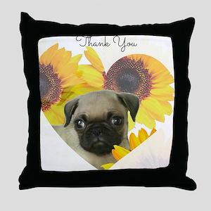 Thank You Pug Dog Throw Pillow