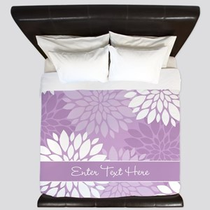 Lilac Floral Personalized King Duvet