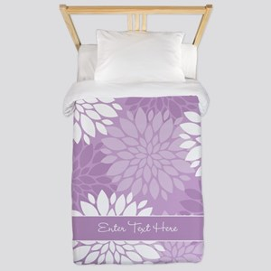 Lilac Floral Personalized Twin Duvet