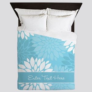 Teal Floral Personalized Queen Duvet