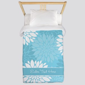 Teal Floral Personalized Twin Duvet