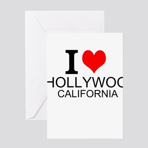 I Love Hollywood, California Greeting Cards