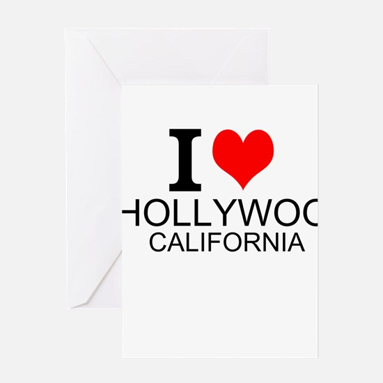 I Love Hollywood, California Greeting Cards