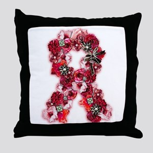 Vintage Flowers Pink Ribbon Throw Pillow