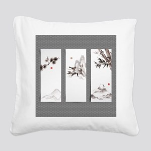 japanese Square Canvas Pillow