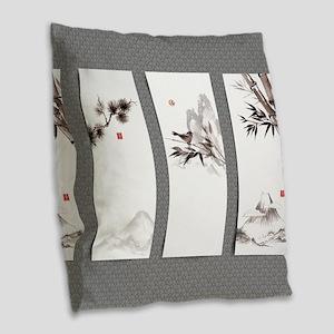 Japanese Banners Burlap Throw Pillow