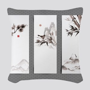 japanese Woven Throw Pillow