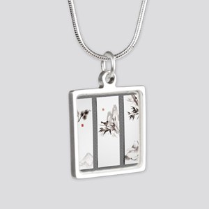 japanese Silver Square Necklace