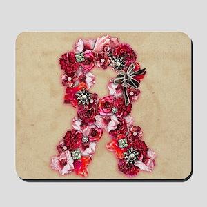 Vintage Flowers Pink Ribbon Mousepad