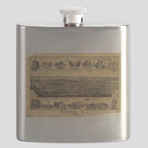 Vintage Pictorial Map of Paterson NJ (1880) Flask