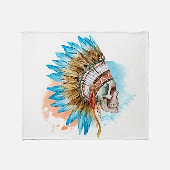 Skull Headdress Throw Blanket