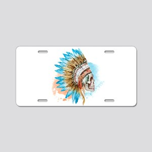 Skull Headdress Aluminum License Plate
