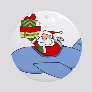 Santa Claus Flying Plane to Deliver Round Ornament