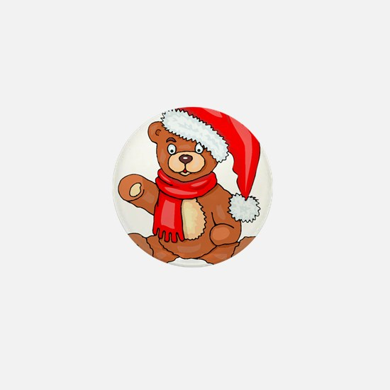 Santa Teddy Bear with Red Scarf Mini Button