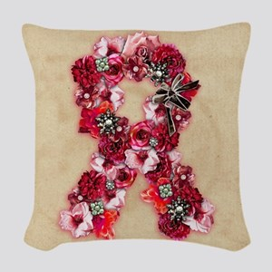 Vintage Flowers Pink Ribbon Woven Throw Pillow
