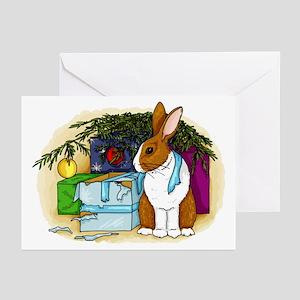 Rabbit Christmas Present Greeting Cards (Pk of 10)