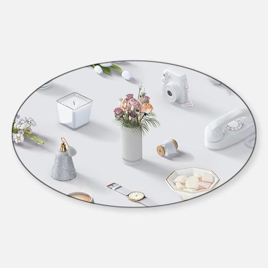 Girl's White Dream Sticker (Oval)