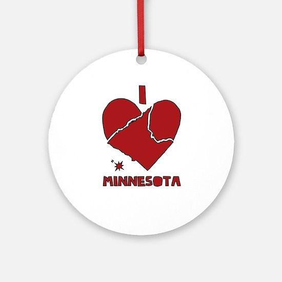 I Love Minnesota Round Ornament