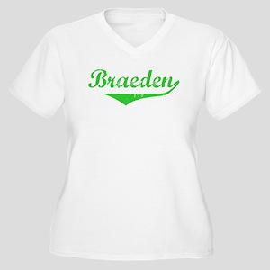 Braeden Vintage (Green) Women's Plus Size V-Neck T