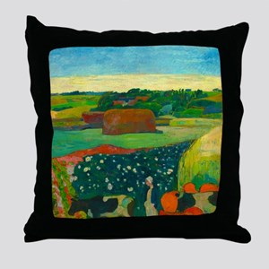 Haystacks in Brittany by Paul Gauguin Throw Pillow