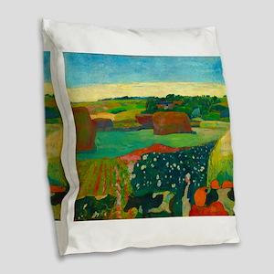 Haystacks in Brittany by Paul Gauguin Burlap Throw